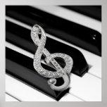 Símbolo del musical del piano posters