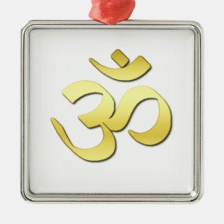 Símbolo del ohmio adorno navideño cuadrado de metal