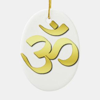Símbolo del ohmio adorno navideño ovalado de cerámica