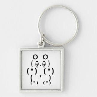 Símbolo del ordenador del oso de panda llavero cuadrado plateado