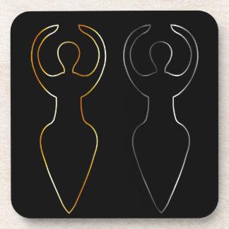 Símbolo del oro y de la plata de la diosa de posavasos de bebidas