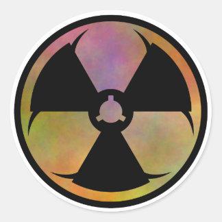 Símbolo del peligro de la mutación pegatina redonda