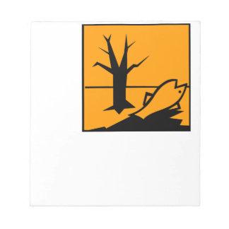 Símbolo del peligro para el medio ambiente libreta para notas