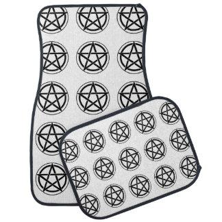 Símbolo del Pentagram - estrella Cinco-Acentuada Alfombrilla De Auto