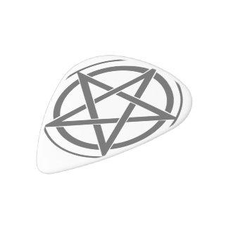Símbolo del Pentagram - estrella Cinco-Acentuada Plectro De Delrin Blanco