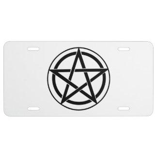 Símbolo del Pentagram - estrella Cinco-Acentuada Placa De Matrícula