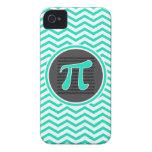 Símbolo del pi; Aguamarina Chevron verde iPhone 4 Coberturas