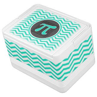 Símbolo del pi; Aguamarina Chevron verde Refrigerador Igloo