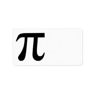 Símbolo del pi etiqueta de dirección