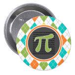 Símbolo del pi; Modelo colorido de Argyle Pin Redondo 7 Cm