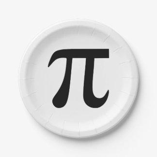 Símbolo del pi platos de papel