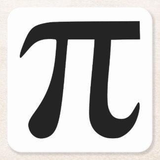 Símbolo del pi posavasos desechable cuadrado