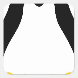 símbolo del pingüino del tux del linux pegatina cuadrada