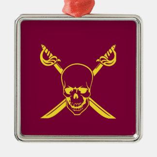 Símbolo del pirata adorno cuadrado plateado