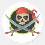 Símbolo del pirata pegatina redonda