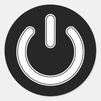 Símbolo del poder (blanco y negro) pegatina redonda