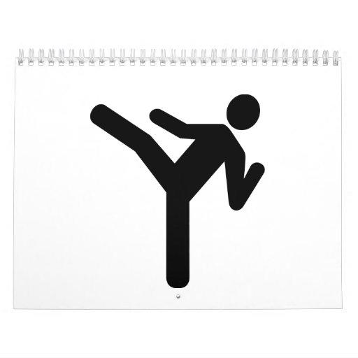 Símbolo del retroceso de los artes marciales calendario de pared