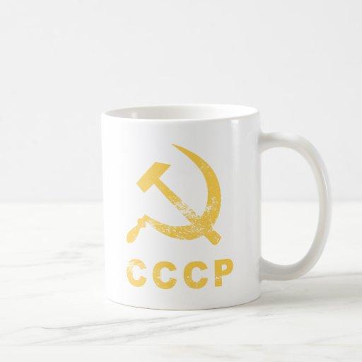 Símbolo del ruso del vintage tazas