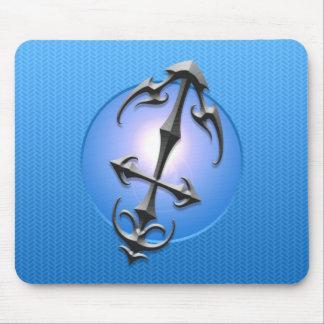 Símbolo del sagitario del hierro, azul alfombrilla de ratones