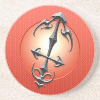 Símbolo del sagitario del hierro, rojo posavasos de arenisca