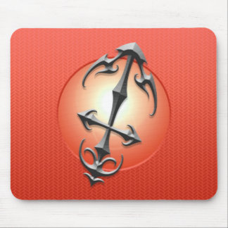 Símbolo del sagitario del hierro, rojo tapete de ratón