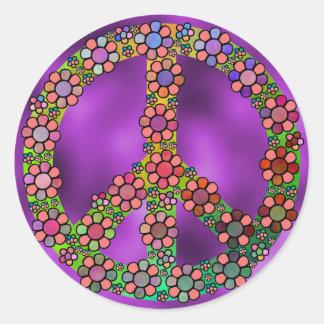 Símbolo del signo de la paz de la flor pegatina redonda