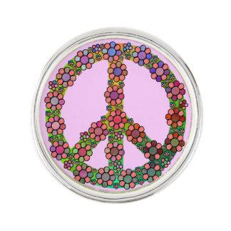 Símbolo del signo de la paz de la flor pin