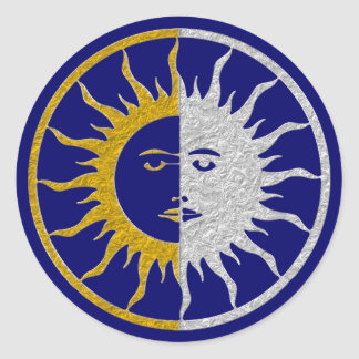 Símbolo del SOL y de la LUNA - plata del oro Pegatina Redonda