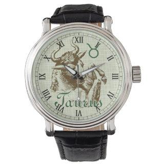 Símbolo del tauro de la muestra del zodiaco relojes de mano