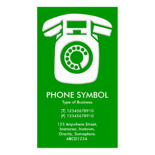 Símbolo del teléfono - verde (009900) plantillas de tarjetas de visita