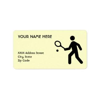 Símbolo del tenis etiquetas de dirección