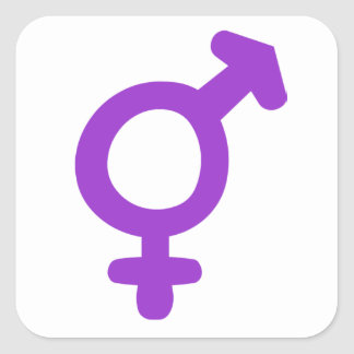Símbolo del transexual pegatina cuadrada