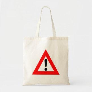 Símbolo del triángulo de la atención bolsa tela barata