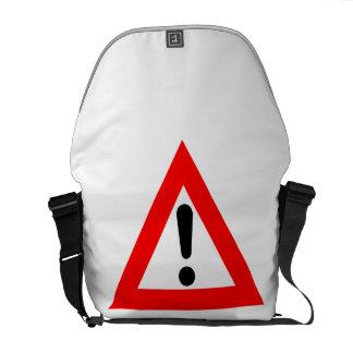Símbolo del triángulo de la atención bolsas messenger