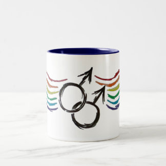 Símbolo del varón del orgullo gay taza de dos tonos