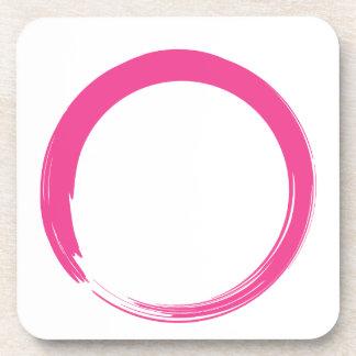 Símbolo del zen/círculo rosados de Enso Posavasos De Bebidas
