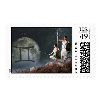 Símbolo del zodiaco de los géminis timbre postal