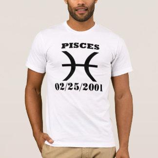 Símbolo del zodiaco de Piscis con SU FECHA DE Playera
