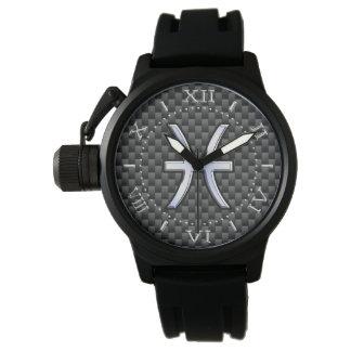 Símbolo del zodiaco de Piscis en el dial del Reloj De Mano
