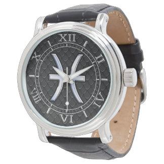 Símbolo del zodiaco de Piscis en el dial negro de Relojes De Pulsera