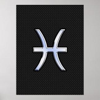 Símbolo del zodiaco de Piscis en estilo negro de Póster