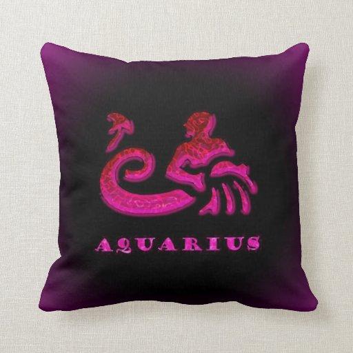 Símbolo del zodiaco del acuario cojines