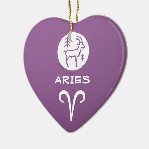 Símbolo del ZODIACO del ARIES Adorno De Cerámica En Forma De Corazón