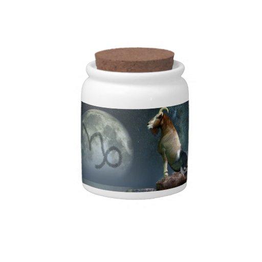 Símbolo del zodiaco del Capricornio Jarra Para Caramelo