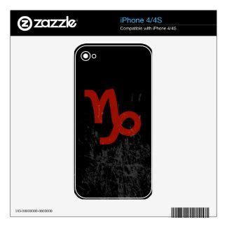 Símbolo del zodiaco del Capricornio (rojo en negro Calcomanías Para iPhone 4S