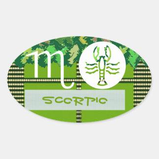 Símbolo del zodiaco del ESCORPIÓN Pegatina Ovalada
