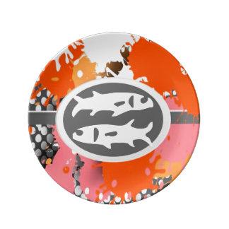 Símbolo del zodiaco, placa de la porcelana de plato de cerámica