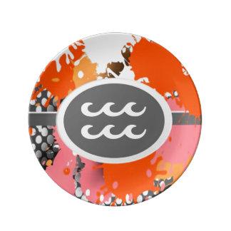 Símbolo del zodiaco, placa de la porcelana del platos de cerámica