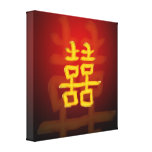 Símbolo doble chino de la felicidad impresión en lona estirada