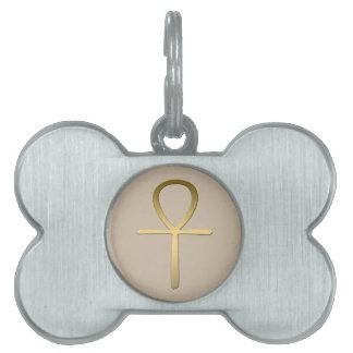 Símbolo egipcio cruzado de Ankh Placa De Nombre De Mascota